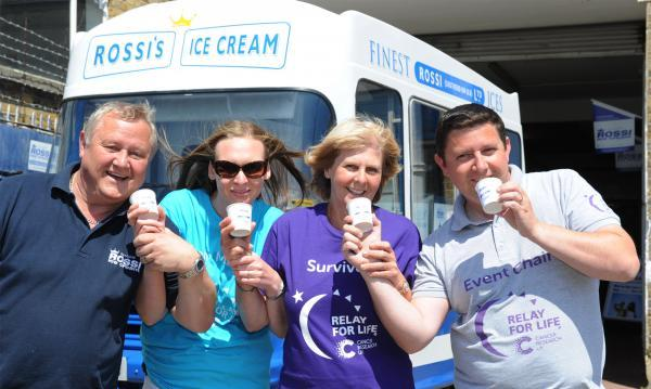 Southend Standard: Ice cream lickers - Colin Gray, Nicola Hamilton, Leslie Fossett and Kieran Meikle are ready to help break the record