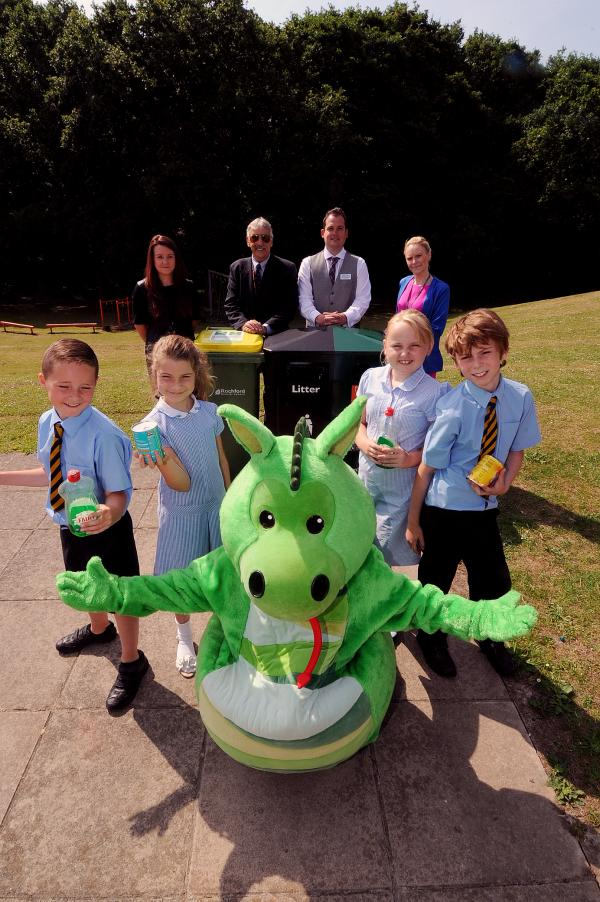 Recylcing - Jade Austin, from Rochford Council, councillor Ian Ward, vice-principle Adam Stainsbury and Amy Kennedy, with pupils