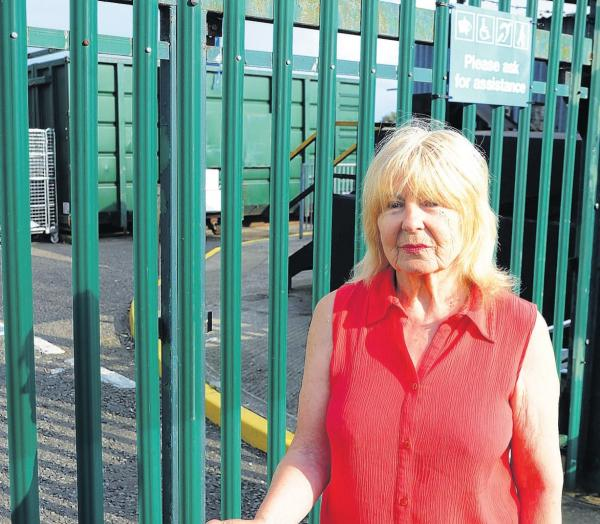 Councillor Caroline Parker outside the recycling centre in Leigh