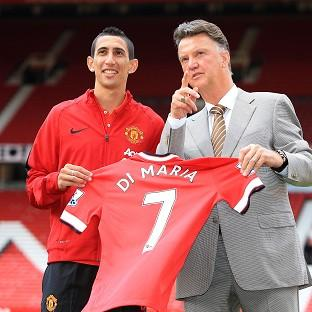 Angel di Maria, left, was unveiled at Old Trafford alongside Louis van Gaal