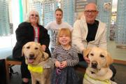 Special visitors - Christine Dunn with Guide Dog Harrison, Ross Bishop from Specsavers, Kevin Weaver with Guide Dog Tel, and Elvie Han de Beaux
