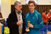Paul Whittaker receives his winner's trophy at the Witham Five