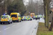 Emergency services at scene of Laindon accident