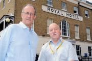 Councillors Ron Woodley and Graham Longley outside the Royal Hotel
