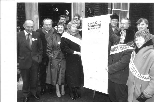 MPs outside No 10 Downing Street in 1998 to protect cancer services