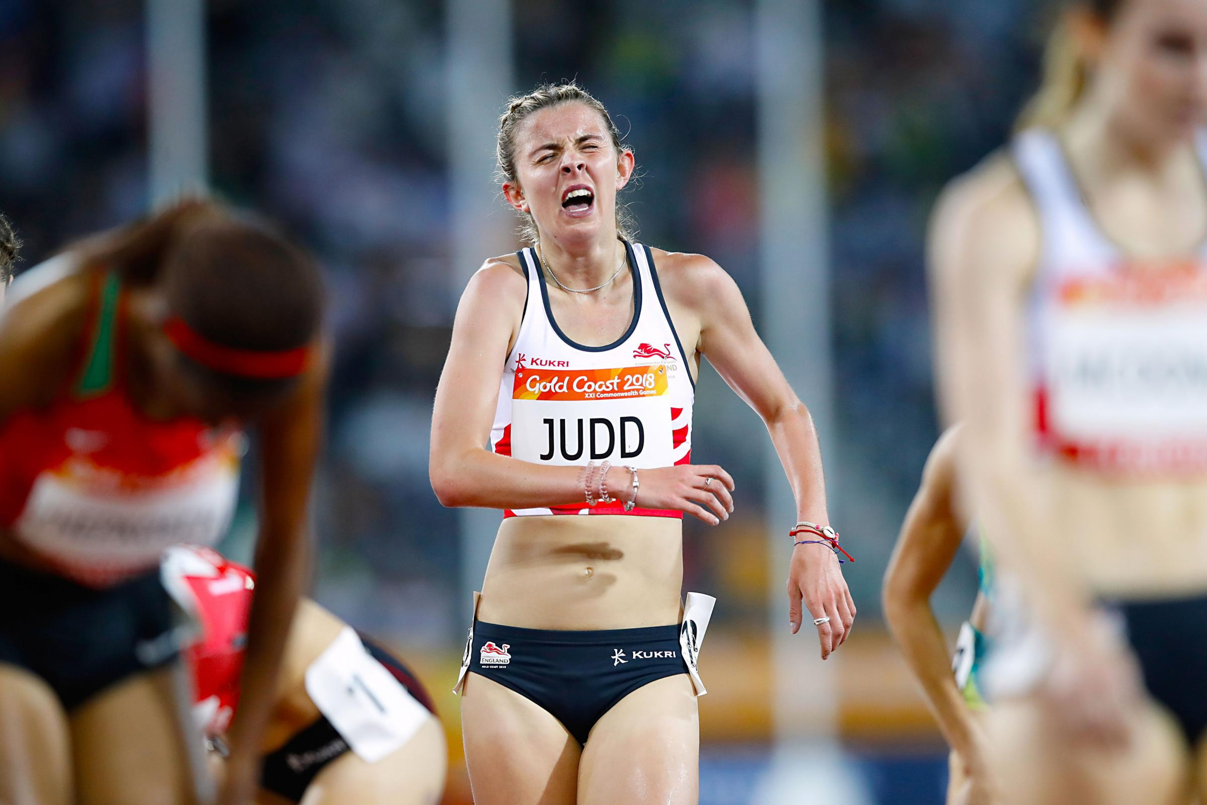 Tired - Jessica Judd at the finishing line