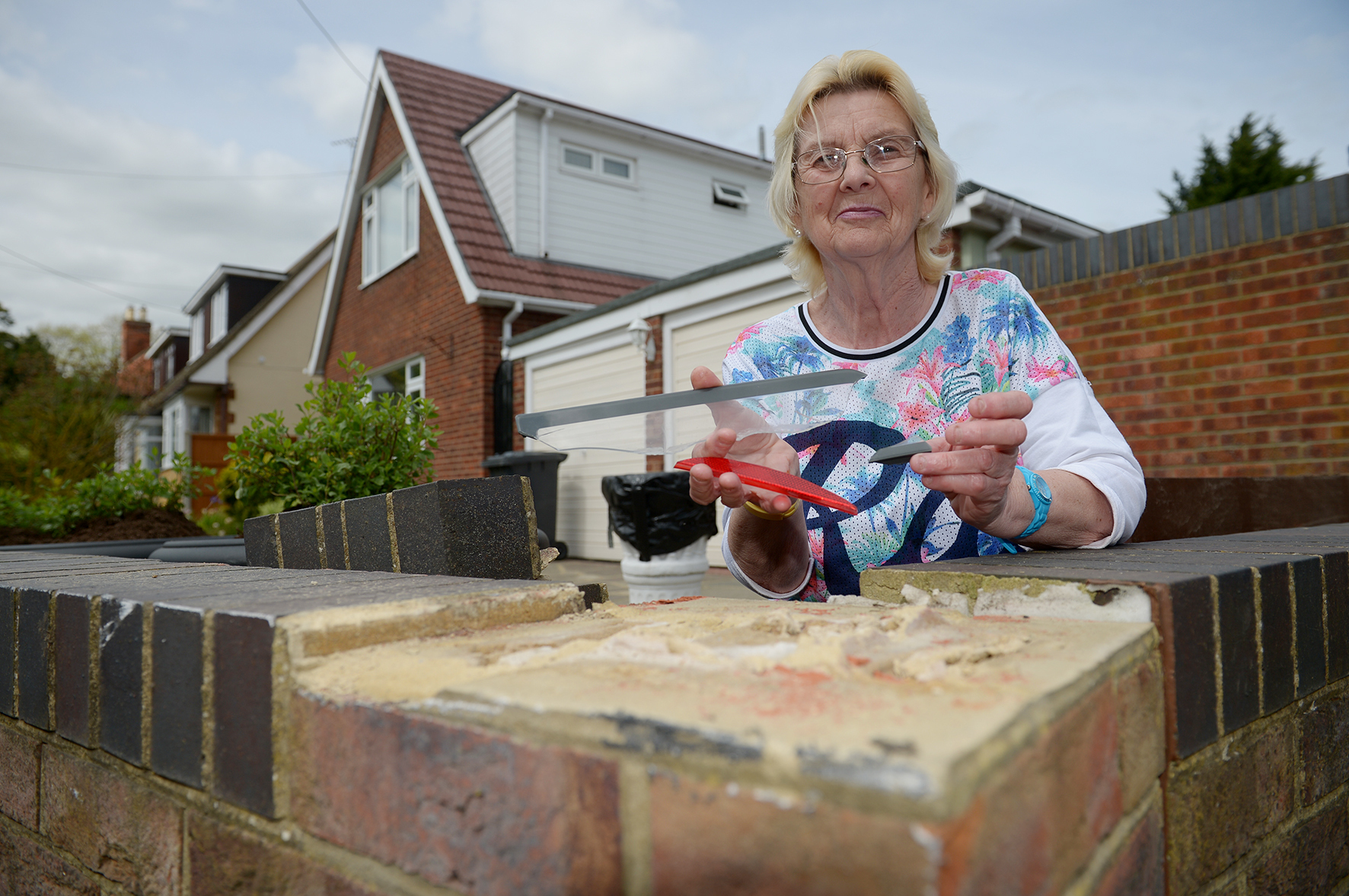 Jacqueline Penfold, Church Lane, Ashingdon.Jacqueline's front wall was damaged after a car hit it..