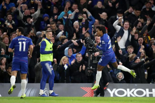 Willian celebrates his goal in Chelsea's win over Newcastle