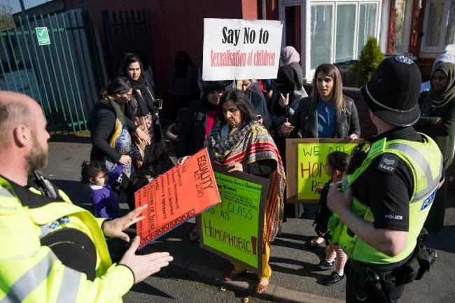 Parents, children and protesters demonstrate against lessons about gay relationships at Anderton Park Primary School in Birmingham