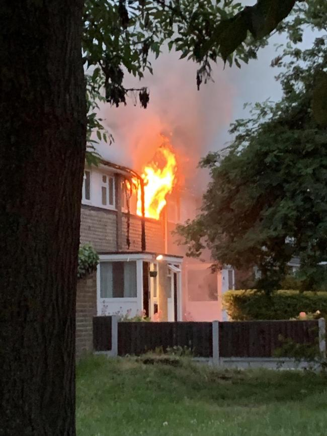 Terrifying - huge flames came from the bedroom window at Barrymore Walk with one woman suffering burns